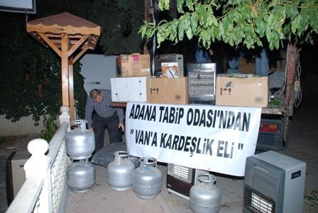 Adana Tabip Odası'ndan Van'a Kardeşlik Eli.. Depremzedelere Yardım Kamyonu Gönderilmiştir.