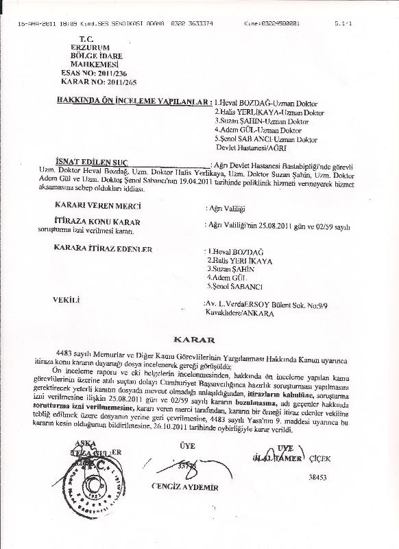 Hekimlik Mesleğinin Onuru İçin 21 Aralık'ta Greve Katılmak Suç Değildir.26.10.2011 Erzurum Bölge İdari Mahkemesi Kararı…