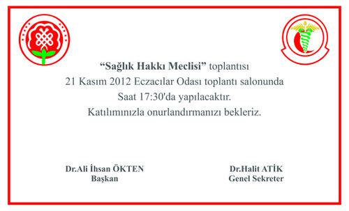 """""""SAĞLIK HAKKI MECLİSİ"""" TOPLNATISI 21 KASIM ÇARŞAMBA GÜNÜ YAPILACAKTIR."""