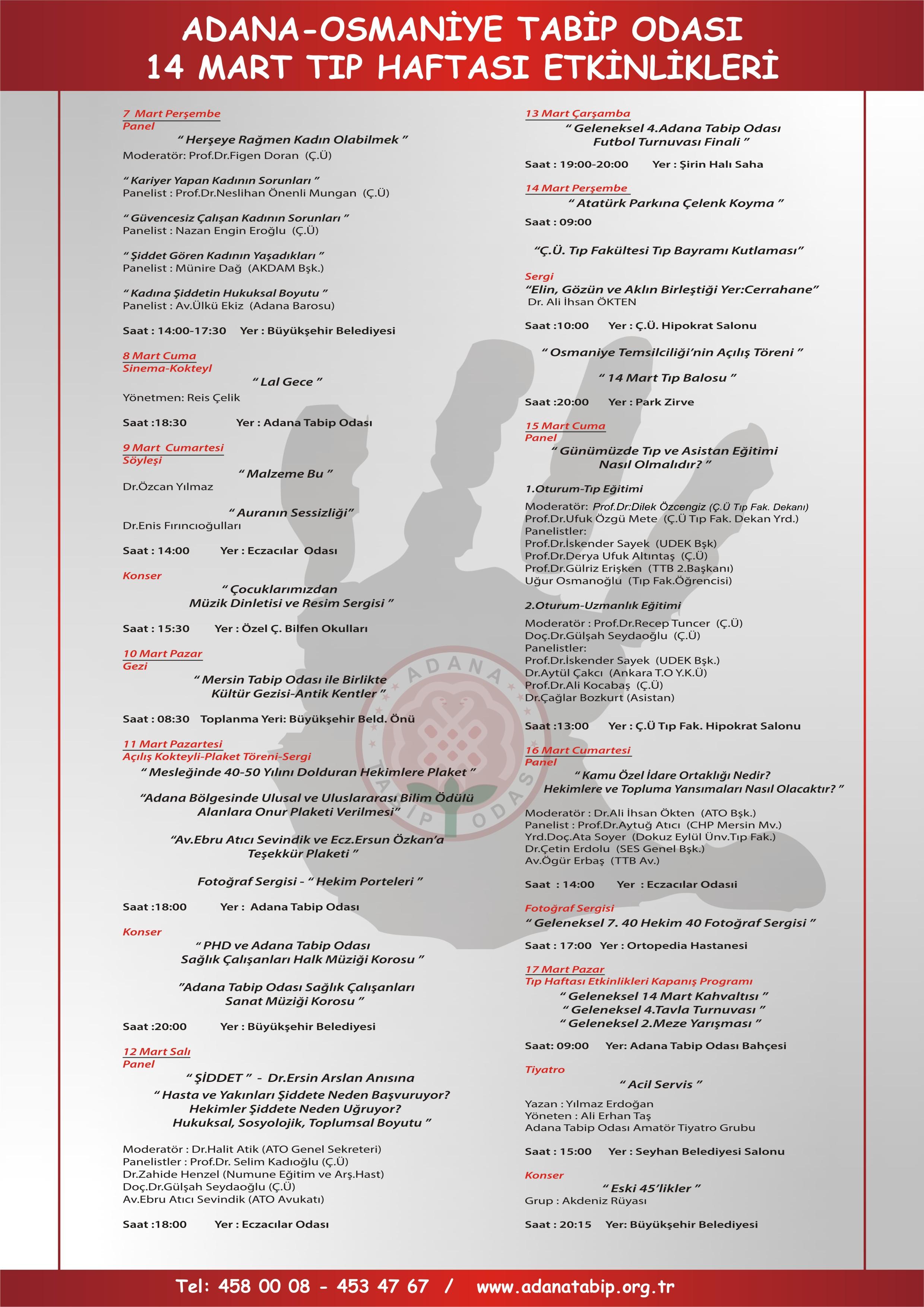 14 MART TIP HAFTASI ETNİKLİKLERİ 7 MART PERŞEMBE GÜNÜ BAŞLIYOR.