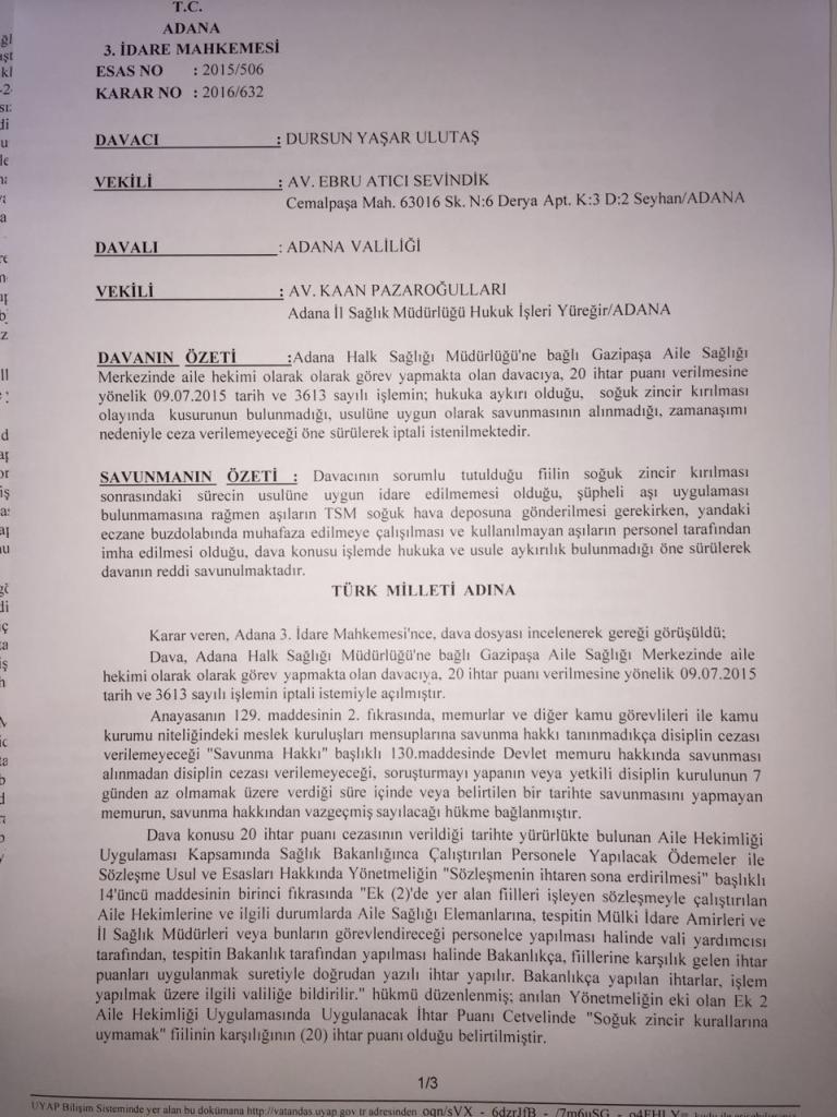 Dava Sonucu Soğuk Zincir Kırılması Adana Tabip Odası