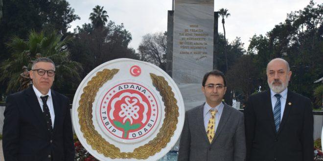 14 Mart Tıp Bayramı nedeni ile Atatürk Anıtına çelenk koyma töreni ve Basın açıklaması