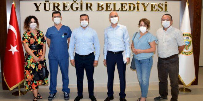 Adana Tabip Odası Yönetim Kurulu üyeleri Yüreğir Belediye Başkanı Mehmet Fatih Kocaispir'i makamında ziyaret etti
